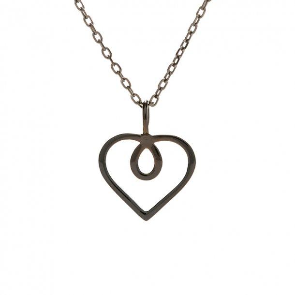 Hjerte, lille, sort rhodineret sterlingsølv